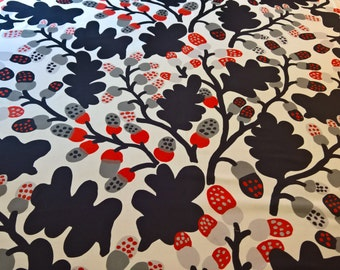 Marimekko Finland Pahkinapuu 100% Cotton Karsuji Wakisaka Blue Orange Grey! By the Yard!