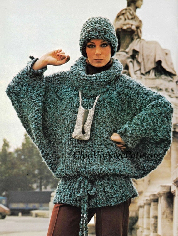 Knitting Pattern Batwing Jumper : Knitted Sweater and Hat ... Ladies Batwing Sleeve Jumper ...