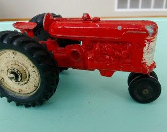 Vintage Cast Metal Red Farmall Tractor Slik Toys 1950s