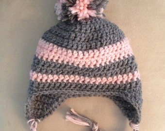 Grey and pink crochet baby hat,  any size made to order, pom pom baby hat, preemie earflap hat, photo prop, pom pom earflap hat, shower gift