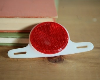 "Vintage Red Bike Reflector, 2"", Made in Taiwan 1970s prop"