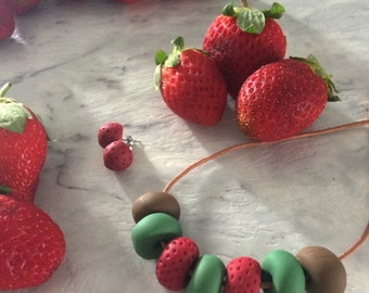 Sweet Strawberry - Beaded Clay Necklace