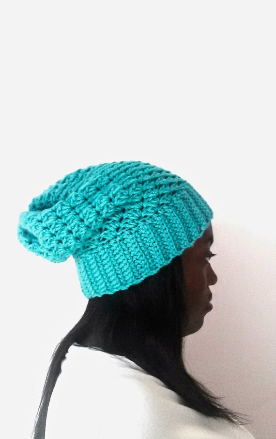 Crochet Slouch Hat - Gift for Women - Unisex Warm Hat - Cool Gift for Girfriend - Crochet Hats for Women - Aqua Beanie - Gift for Boyfriend