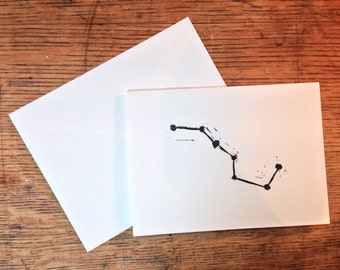 Big Dipper Constellation Stamped Card and Envelope - Blank Card, Just Because Card, Note Card (FREE Shipping!)