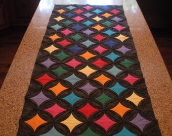 Black Cathedral Window Table Runner
