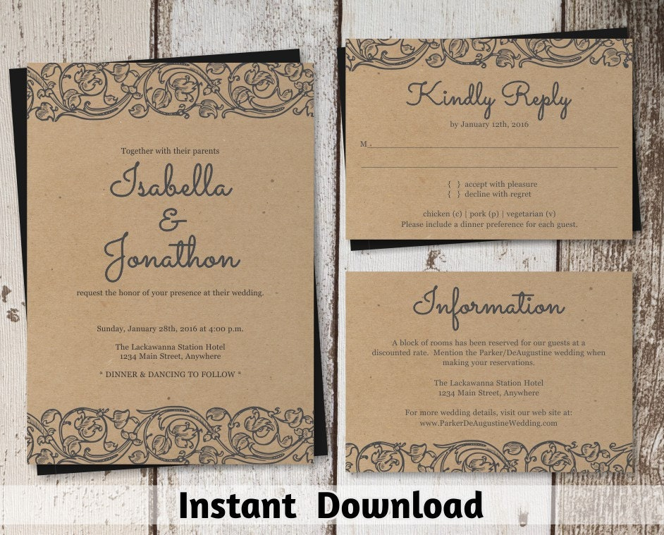 Rustic lace wedding invitation template shabby chic for Diy rustic chic wedding invitations free printable template ahandcraftedwedding