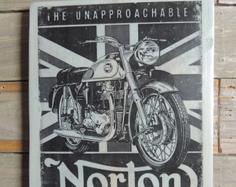 Norton motorcycle on British flag large wood plaque