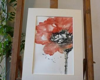 Original Watercolour; Red poppy