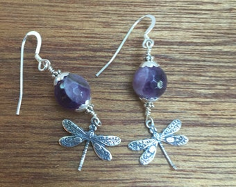 Dragonfly amethyst crystal and silver earrings