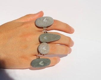 Pebble heart ring rock heart ring beach ring surfer jewellery beach stone ring nautical gift grey pebble ring organic ring natural ring