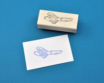 Giant Squid Stamp, Hand Carved Rubber Stamp
