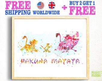 Disney Lion King Hakuna Matata Quote Watercolor Poster Print Wall Decor Watercolor Painting Watercolor Art Kids Decor Nursery Decor