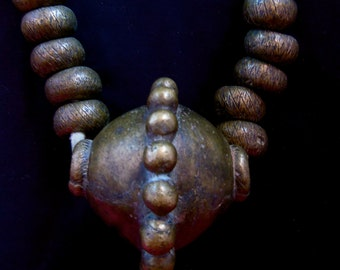 """Large Bronze Currency Necklace Yoruba Nigeria 6Lbs. 4 Oz. Antique 17"""" Long African Jewelry Collectible"""