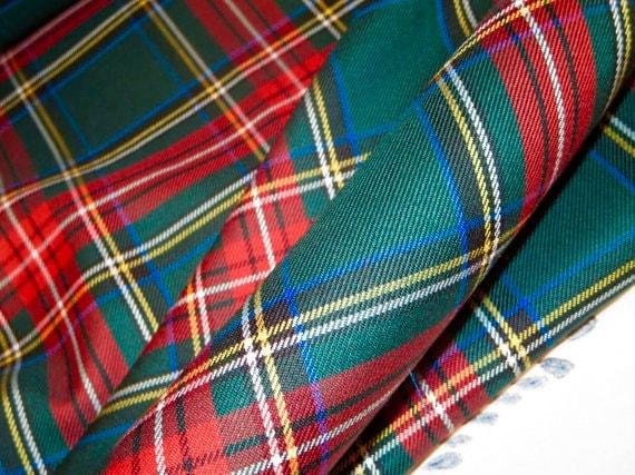 Green Stewart Plaid Tartan FabricSale By Yard Red By