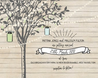 50 Fairy Tree Lights Rustic Mason Jar Wedding Invitations!