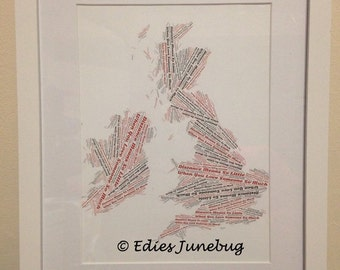 Long Distance Love Art, UK Map Word Collage, Love Is Quotes, Wedding Present, Gifts For Couples, Custom Home Decor, British Isles,