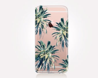 Transparent Palm Tree Phone Case - Transparent Case - Clear Case - Transparent iPhone 7 - Clear iPhone 7 Plus - Gel Case - TPU - iPhone SE