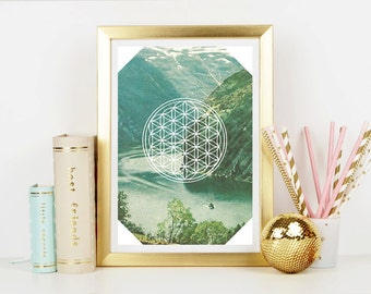 Vintage Inspired Flower of Life Free Spirit  - Home Decor - Hippie Art Print -  Art Print - Esoteric Print- Spiritual Print- Supernatural