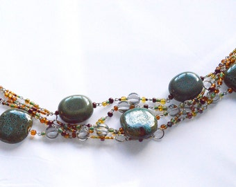 Green and Brown Statement Necklace