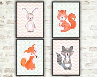 Nursery Decor Woodland Animals Print Nursery Set Nursery Woodland Instant Download Woodland Art Fox Print Animals Set Watercolour Animals