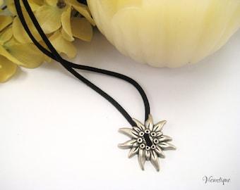 Sun Charm Necklace, Metal Sun Necklace, Silver Sun Charm, Black Suede Necklace, Black and Silver Necklace