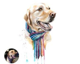 Custom portrait dog - Custom dog portrait - Labrador watercolor - custom pet, animal, dog, cat portrait from photo