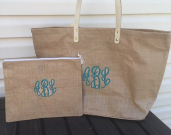 Monogrammed burlap Tote and Zipper Pouch Combo, mothers Day summer ,Jute Tote