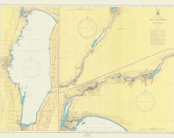 Lake Winnebago Historical Map 1947
