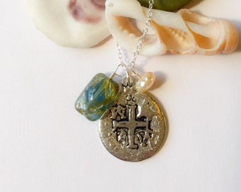 Old World Pirate Doubloon Necklace, Handmade with Czech Glass Bead and Pearl