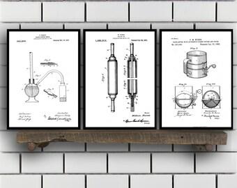 Baking Patent Poster set of 3 - Baking Powder tester - flour sifter Poster - Kitchen Patent - Kitchen Wall Art - Cooking Art - Kitchen, SP88