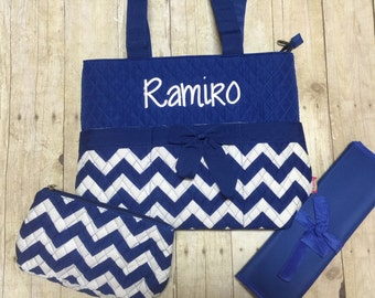 monogrammed diaper bag 3 piece set personalized blue chevron