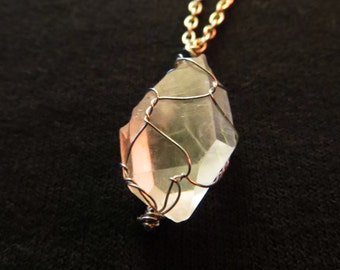 Crystal Quartz Silver Wire Necklace
