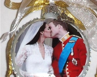 Royals Collection - Wedding of William and Kate inspired tribute Glass Christmas Ornament
