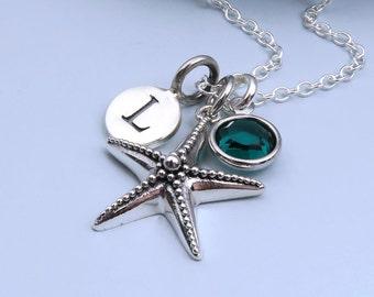 Personalized Starfish Necklace, Silver Starfish Charm, Aquatic Necklace, Ocean Necklace, Sealife Jewelry, Beach Wedding, Tiny Starfish