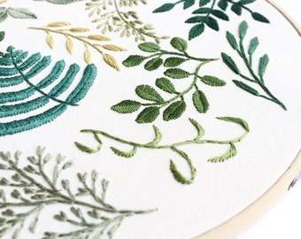 10 Inch Classic Mix Leaf Hoop Art, Hand Embroidery - Green Multi