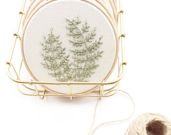 Ditsy Leaf Embroidery Hoop- Pale Green with Dusty Yellow Detail