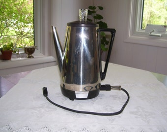 Sunbeam Vista Percolator Electric Percolator Immersible Percolator 10 cup 70s Vintage