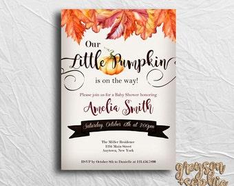 Our Little Pumpkin Baby Shower Invitation, Printable Fall Baby Shower, Digital File, Pumpkin Baby Shower