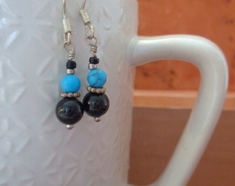 Sterling Silver, Black Onyx and Turquoise Earrings - Silver, Onyx and Turquoise Earrings