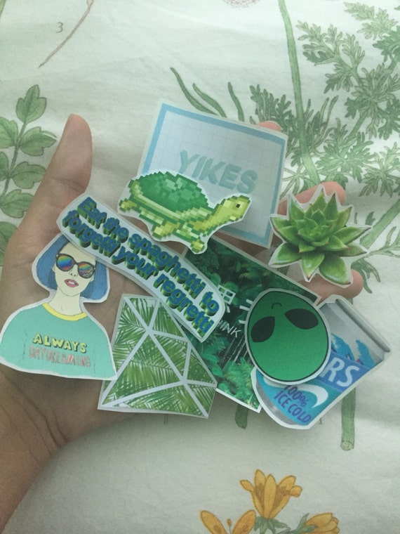 Green Aesthetic Tumblr Sticker Set 9 Stickers By Elenaceci7