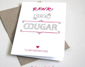 Rawr to my #1 Cougar Birthday CARD / Funny / girlfriend / Pink and Grey / 5x7 Folded Card – Printable DIY, Instant Download