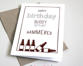 Happy Birthday Buddy Let's Get Hammered CARD / Funny / Birthday / Men / Brown and Grey / 5x7 Folded Card – Printable DIY, Instant Download