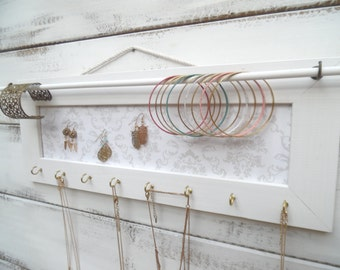 White jewelry holder, Jewelry Holder, Jewelry Organizer,  White frame