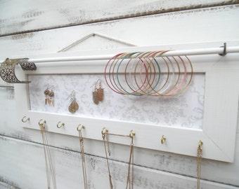 White jewelry holder, Jewelry Holder, Jewelry Organizer,  White frame