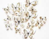 10 white and gold butterflies, gold wedding decor, gold accent decor, gold wall art, luxury decor, gold wall decals