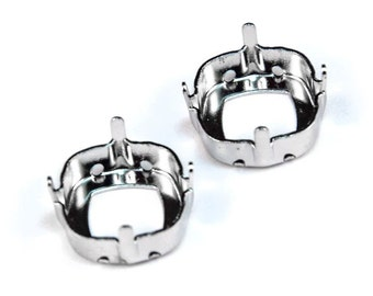 12mm Rhodium-plated sew-on settings for 4470 Swarovski Square Cushion Cut Fancy Stones. Prong settings