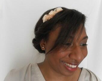 Headband with flowers the Crea de Marie - Beige