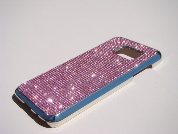 Galaxy S7 Pink Diamond Rhinestone Crystals on Silver Chrome Case. Velvet/Silk Pouch Bag Included, Genuine Rangsee Crystal Cases