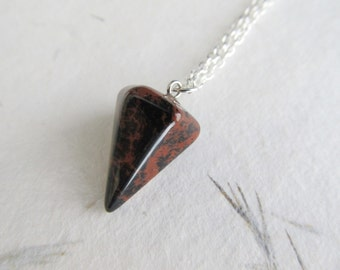 Brown obsidian necklace, gemstone pendant, crystal point pendant