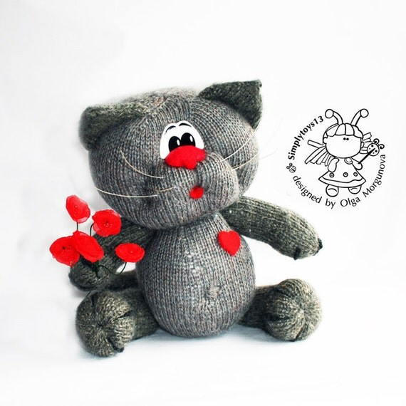 Knitted Amigurumi Cat Pattern : Enamored cat knitting pattern knitted round. Amigurumi cat